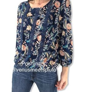 AUW Floral Blouse Sz L lace detail Romantic Top